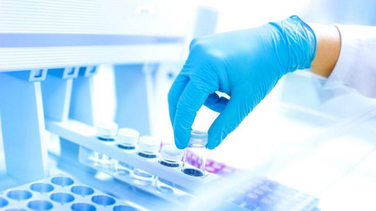 Scientist using protective robber gloves for handling dangerous